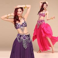Wholesale Indian Dancing Skirts - New Style Belly Dance Costume S M L 3pcs Bra&Belt&Skirt Sexy Dancing women dance clothes Set bellydance Indian wear for lady