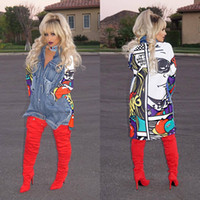 Wholesale Denim Trench - Spring Graffiti Print Spliced Ripped Pockets Long Sleeve Denim Trench Coat For Women New Clothing Streetwear