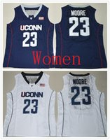 Wholesale M Moore - Personalized Women Uconn Huskies #23 Maya Moore Navy blue & white Basketball Jerseys Stitched Ladies Size S-2XL Custom Any Name Any Number