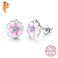 Wholesale Magnolia Flowers - BELAWANG Fashion Magnolia Bloom Stud Earrings Solid 925 Sterling Silver Pale Cerise Enamel & Pink CZ Flowers Earrings for Women Jewelry