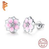 Wholesale Enamel Flower Stud - BELAWANG Fashion Magnolia Bloom Stud Earrings Solid 925 Sterling Silver Pale Cerise Enamel & Pink CZ Flowers Earrings for Women Jewelry