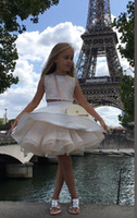 Wholesale Two Piece Cute Short Dresses - New Coming Two Pieces Ball Gown Short Lace Appliques Cute Beautiful Wedding Dresses Flower Girl Dress