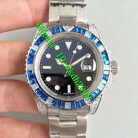 Wholesale Eta Men Watch - Top quality Luxury Brand Stainless Steel Automatic ETA 2836 Movement Blue Diamonds Swiss Men's Watch Sapphire Crystal Classic Man Watches