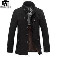 Wholesale mens wool cashmere blend overcoats - Wholesale- Miacawor Brand Clothing Mens Wool & Blends Autumn Winter Cashmere Men's Coat Trench Jacket Wool Coat Overcoat MJ381