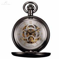 Wholesale Ks Hands - Wholesale-KS Luxury Skeleton White Dial Antique Hand Winding Roman Numerals Mechanical Analog Clock Fob Chain Jewelry Pocket Watch  KSP009