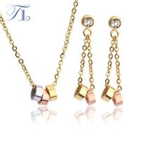 TL Big Crystal Jewelry Sets Para o Dia dos Namorados Imitação Long Chain Multilayer Dubai Prata / Ouro / Rose Gold Round Jewelry Sets
