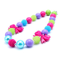 Wholesale Resins For Bows - MHS.SUN 2017 New Design Fashion Cute Bow Necklace Birthday Party Gift For Toddlers Girls Beaded Bubblegum Baby Kids Chunky Necklace Jewelry