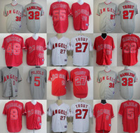 Wholesale Cool White Kids - Men Women Kids LA Angels of Anaheim 32 Hamilton 55 Matsui 48 Hunter 27 Trout 8 Morales 5 Albert pujols Grey Red White cool baseball Jerseys