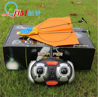 Wholesale Rc Lights Plane - Wholesale- Creative Gift HM830 Paper Electric RC Airplane Remote Control 2.4GHz 2CH Plane Easy Fly Children Toys Shatter Resistant light