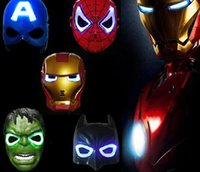 Wholesale Hulk Masks - 100pcs Christmas LED Glowing superhero mask for kid & adult Avengers Marvel spiderman ironman captain america hulk batman party mask