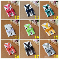 Wholesale Set Xt - 26 Colors Hot Sell New Arrival Kids Suspenders + Bow Tie Set for 1-10T Baby Braces Elastic Y-back Boys Girls Suspenders Accessories XT