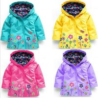 Wholesale Overcoat Baby Hooded - fall winter kids clothes girl spring flowers windbreaker children cartoon 9color high quality baby coat jacket overcoat raincoat CQZ116