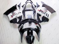zx6r batı parkurları toptan satış-Plastik Kaportalar Zx6r 1999 ABS Fairing Ninja Zx-6r 1998 Siyah WEST Kaplama Takımları 636 Zx-6r 98 1998 - 1999
