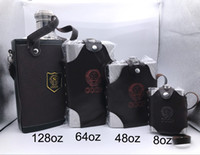 Wholesale Leather Wine Flask - 304 Stainless Steel Hip Flasks 8oz 48oz 64oz 128oz with holder Leather Thickening Proof Kettle Pot Whiskey Wine Bottle