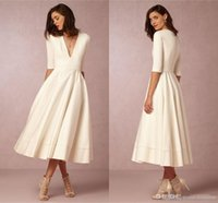 Wholesale Bridesmaid Tea Dress - Elegant 2016 BHLDN White Ivory Satin Short Bridesmaid Dresses V Neck Half Long Sleeves Plus Size Maid Of Honor Gowms For Beach Wedding