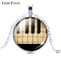 Wholesale piano pendant - Wholesale-Fashion Piano Keyboard Picture Pendant Necklace Vintage Silver Color Necklace Summer Style Glass Cabochon Fine Jewelry