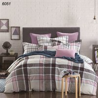 100% Cotton black grey comforter - Grey black blue plaids bedding sets cotton zipper comforter cover bed cover bed set sheet to countries B6051