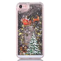 weihnachten santa telefon fall großhandel-Samsung S6 / S7 Hülle Weihnachtsbaum Weihnachtsmann Handyhülle Glitzer Schwarz Quicksand