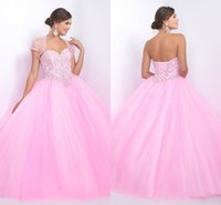 Wholesale Shiny Elegant Dress - Pink Quinceanera Dress Ball Gown Dresses Crystals With Jacket Elegant Simple Design Wonderful Appliques Beading Shiny Bling Prom Party Wear