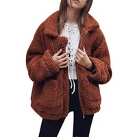 Wholesale Womens Sleeved Cardigans - Fashion Faux Fur Warm Coat Women Fluffy Shaggy Cardigan Zipper Jacket Womens Outwear Turn-down Collar Tops Overcoat Female Mujer