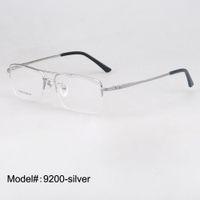 Wholesale pure titanium eyeglasses - Wholesale- 9200 man's half rim pure titanium optical frames prescription eyewear myopia eyeglasses suitable for progressive lens