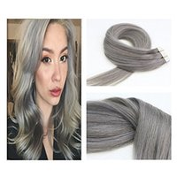 Wholesale skin weft hair extensions online - Tape In Real Human Hair Extensions Silk Straight Skin Weft Extensions g piece piece Silver Grey Human Hair
