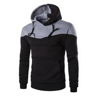 Wholesale Wholesale Men S Sweatshirts - Wholesale- Winter Hoodies Men Sudaderas Hombre Hip Hop Mens Hoodie Decorative Pocket Patchwork Sweatshirt