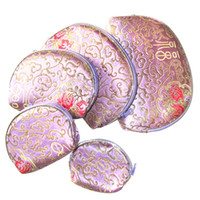 Wholesale Cell Phone Travel Wallets Wholesale - Floral Travel Zipper 5 Size Cosmetic Set Bag Women Silk Brocade Jewelry Key Storage Coin Cell Phone Wallet Makeup Purse (1set=5pcs)