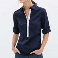 Wholesale Navy Chiffon Blouse Women - 2016 Summer Women New Fashion Casual Chiffon Blouses Lady White Navy Blue Patchwork Long Sleeve Slim Shirts Hot