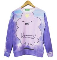 No space beautiful - Lumpy space princess sweatshirt purple cloud beautiful sweats lady male casual hoodies adventure time clothes plus size S XL