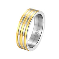 Wholesale Male Sterling Silver Wedding Ring - Free shipping Wholesale 925 Sterling Silver Plated Fashion Inter gold stripe steel ring -9 code - male Jewelry LKNSPCR099-9