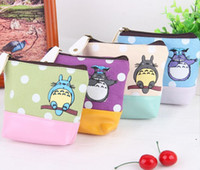 Wholesale kawaii makeup bag - Wholesale- Kawaii NEW PU Bottom 12*12CM 4Colors- My Neighbor TOTORO Coin Purse Wallet Pouch Case BAG ; Women Makeup Case Holder BAG Handbag