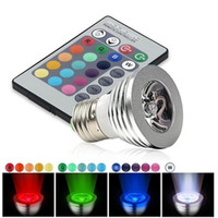 Wholesale Green Led Bulb E14 - LED RGB Bulb 16 Color Changing 3W LED Spotlights E27 GU10 E14 MR16 GU5.3 with 24 Key Remote Control 85-265V & 12V
