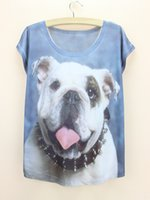 Wholesale Wholesale Price Short Dress - Wholesale-Cool dog pattern summer dress women print tee shirt 2015 fashion girls t-shirt bulldog printing tops wholesale price