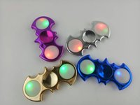 Wholesale Electroplating Battery - Batman Electroplate LED Fidget Spinners Replaceable Battery Luminous Fingertips Torqbar Camo Hand Tri-Spinner Bat EDC Decompression Toys DHL
