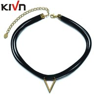 Wholesale Cotton Choker Necklaces - KIVN Fashion Jewelry Black Cotton Triangle Retro Gothic Punk Choker Collar Necklaces for Women Girls Christmas Birthday Promotion Gifts