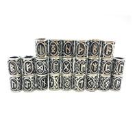 ingrosso nuovi fascini del dispositivo di scorrimento-200 pz / lotto Viking Rune perline in lega vinatge colore argento big hole Barba perline charms per capelli rune collana fai da te Z0005