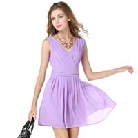 Wholesale Girl S Vogue Dress - 2017 Fashion design S-XL vogue girls summer pleated dress sleeveless chiffon purple women mini vestidos ladies casual dress hot sale