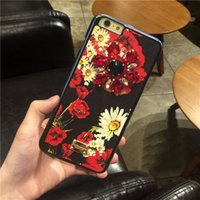 Wholesale Iphone Flower Design Case - High Quality DG Brand Design Flora Flower Rhinestone Cell Phone Case Back Cover for IPhone 7 Plus 6s Plus