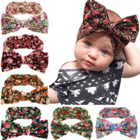 Wholesale Children Headband Design Ribbon - 6 designs Print Floral cotton big bow ribbon headbands Baby Girls Hair bows children hair accessories