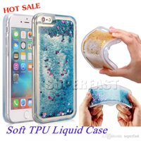 Wholesale For iPhone Soft TPU Water Gel Case Bling Bling Liquid Case For Note Galaxy S7 Edge Quicksand Case With OPP Package