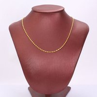 Wholesale Water Singapore - 18K Real Yellow Gold water wave 2mm Thin Cable Chain Necklace 600mm jewelry FREE SHIPPING Best Packaged with Free Gift Packaged