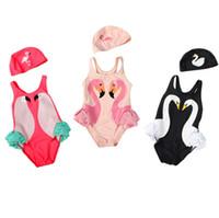 fırfırlanmış üst bikin toptan satış-Toptan 2 adet set çocuk mayo Ins Swan Bikini Kız Flamingolar Parrot Mayo Tek Parçalı Bikini ile Ruffled Mayo Beachwear kap