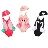 Wholesale Swan Set - Wholesale 2pcs set kids swimwear Ins Swan Bikini Girls Flamingos Parrot Swimsuit Ruffled Bathing Suit Beachwear cap with One-Piece Bikini