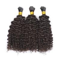 Wholesale braid hair weft - 100% Human Hair Braiding Bulk Kinky Curly No Weft Mongolian Hair Bulk Natural Black 3pcs lot