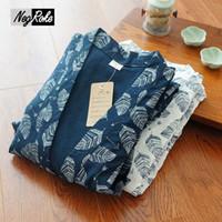 Wholesale Long Pajama Dress - New spring 100% cotton Japanese kimono dressing gown for men long-sleeve pyjamas simple pijama hombre blue black floral kimono