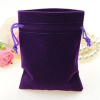 Wholesale Free Gift Packs - 50pcs lot Deep Purple Color Velvet Bags 9x12cm Pouches Jewelry Packing Bags Christmas Candy Wedding Gift Bags Free Shipping