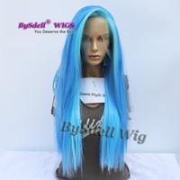 ingrosso parrucche blu in vendita-Vendita calda Parte gratuita Evidenzia Parrucca Blu Colore Sintetico Colore blu brillante parrucche unicorno per capelli merletto per la sirena cosplay