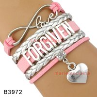 (10 Pieces / Lot) Infinity Love Forgiven Heart Charm Bracelet Multilayer Leather Wrap Bracelet Pink Silver Suede Leather Bracelet Custom