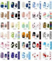 Wholesale Decorations Nails Flowers - 56 Styles Nail Sticker,14sheets lot Full Cover Mix Flowers Designs Nail Art Tips Wraps,DIY Nail Sticker Decoration Accessory